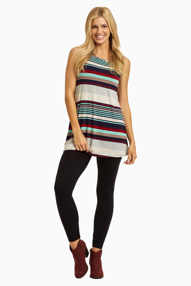 Burgundy Multi-Color Striped Maternity Tank Top