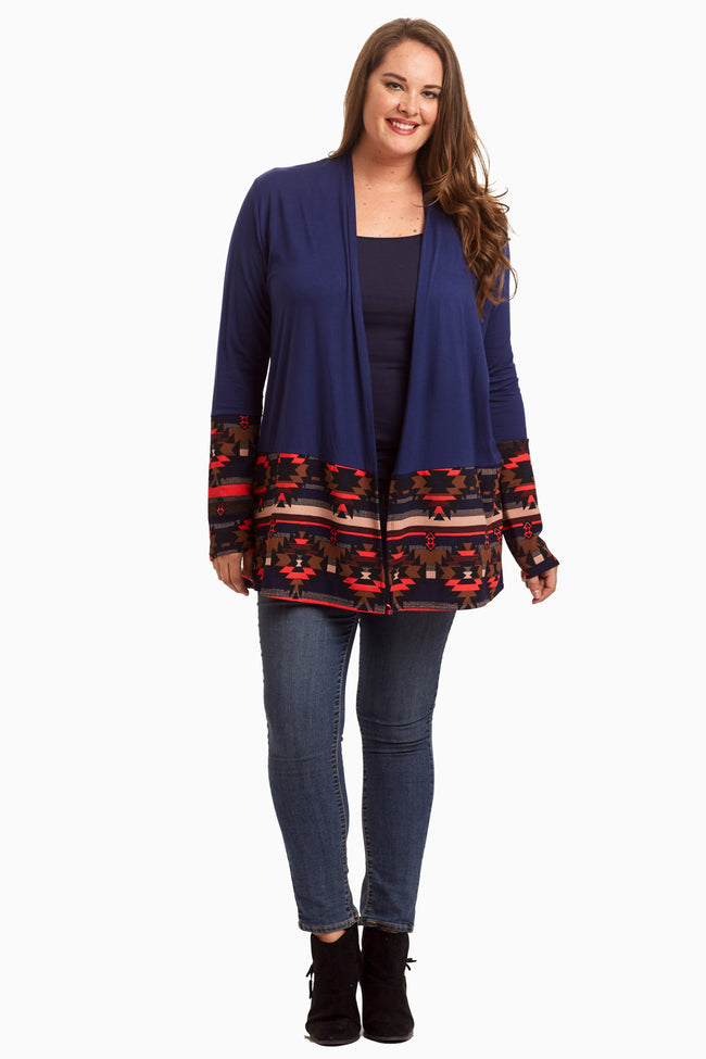 Navy Tribal Border Plus Size Cardigan