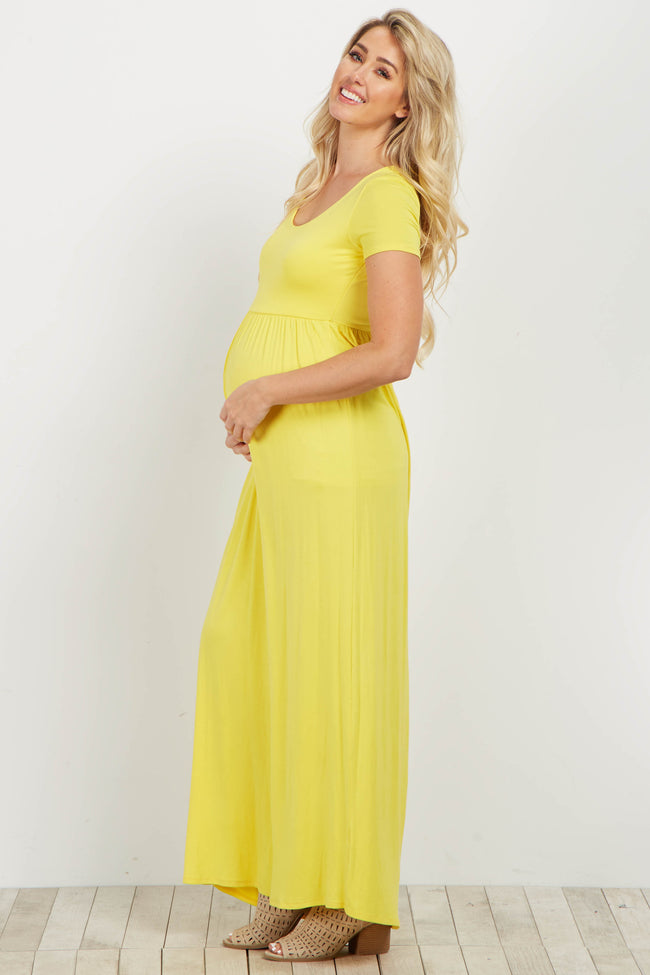 Yellow Solid Short Sleeve Maternity Maxi Dress