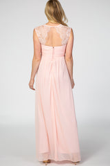 Light Pink Lace Accent Chiffon Maternity Evening Gown