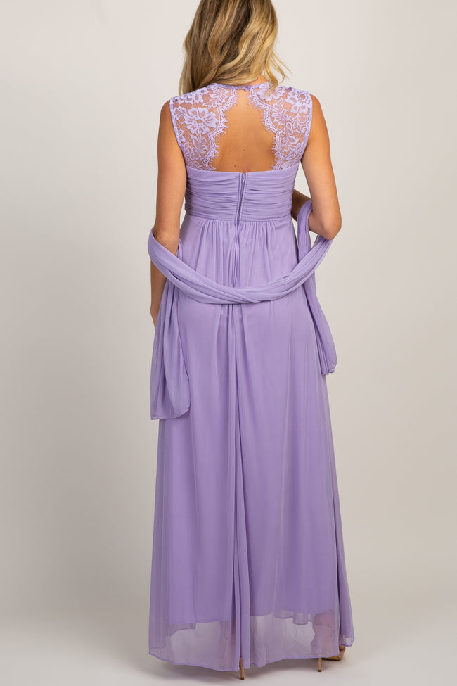 Lavender Lace Accent Chiffon Maternity Evening Gown