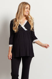 Black Lace Trim Maternity Pajama Top