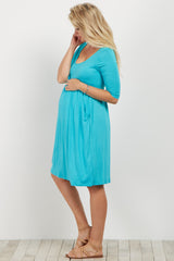 Aqua Draped Pocket Maternity Dress