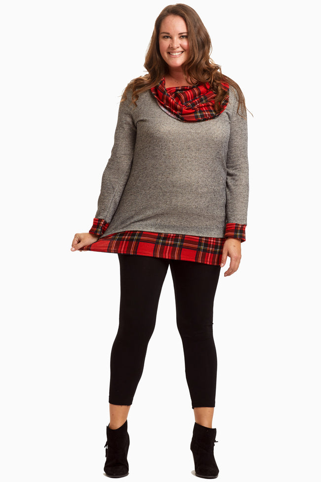 Charcoal Plaid Cowl Neck Plus Size Top