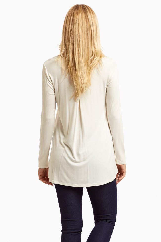 Ivory Faux Leather Zip Accent Top