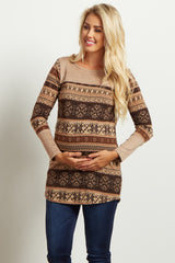 Mocha Brown Suede Accent Knit Maternity Top