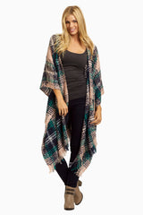 Navy Pink Plaid Knit Maternity Shawl