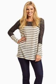 Beige Black Colorblock Stripe Knit Top