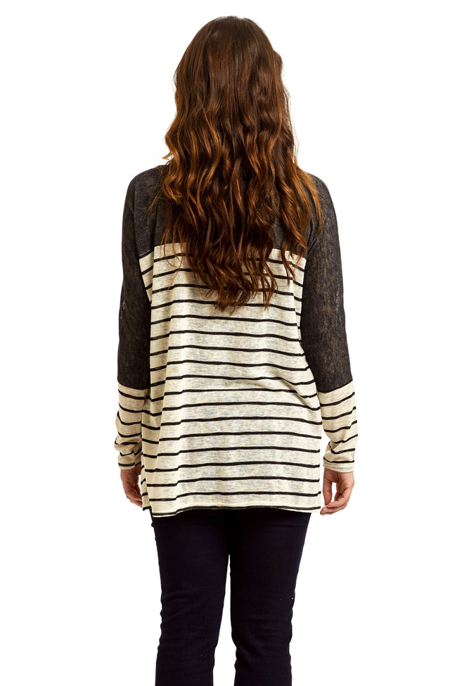 Beige Black Colorblock Stripe Knit Maternity Top