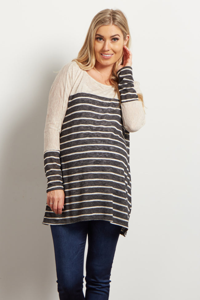 Black Beige Colorblock Stripe Knit Maternity Top