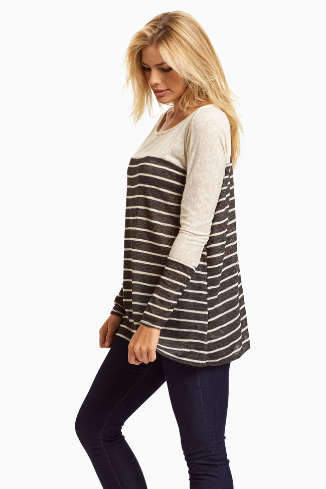 Black Beige Colorblock Stripe Knit Top