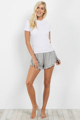 Grey Ruffled Trim Pajama Shorts