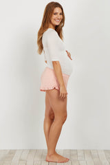 Light Pink Ruffled Trim Maternity Pajama Shorts