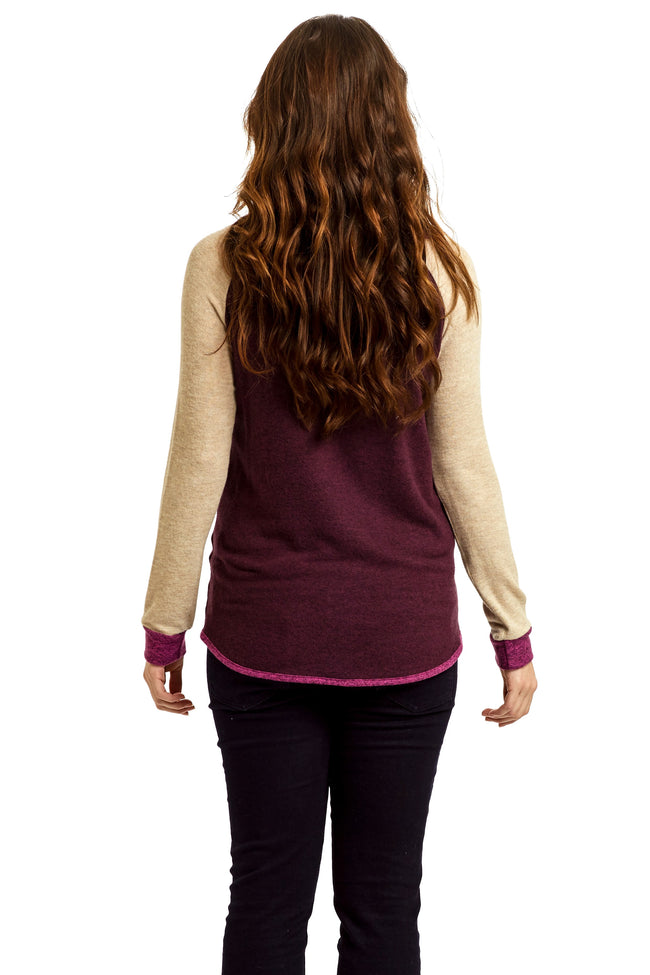 Magenta Beige Soft Knit Raglan Maternity Top