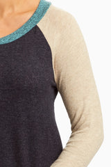 Aqua Black Soft Knit Raglan Top