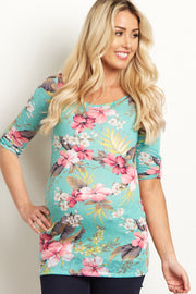 Mint Tropical Floral 3/4 Sleeve Knit Maternity Top