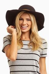 Black Studded Belt Wide Brim Hat