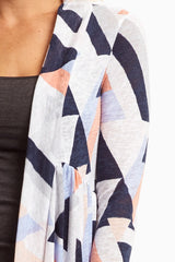 White Geometric Long Knit Cardigan