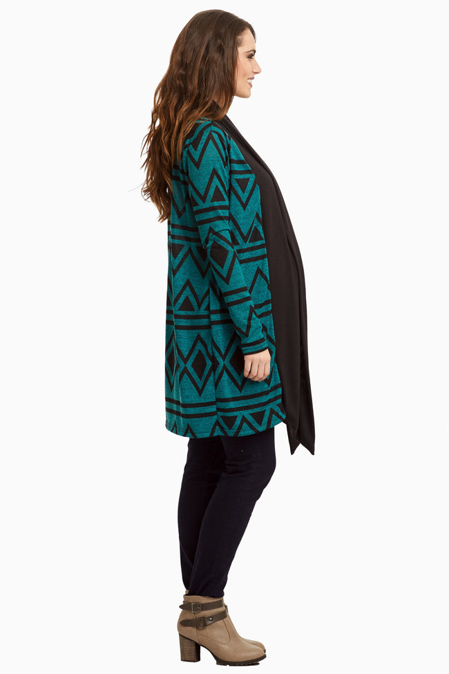 Jade Black Diamond Chevron Knit Maternity Cardigan