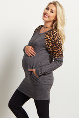 Charcoal Animal Shoulder Maternity Top