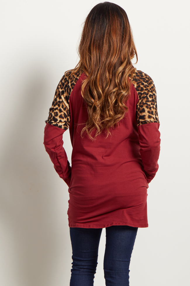 Burgundy Animal Shoulder Top