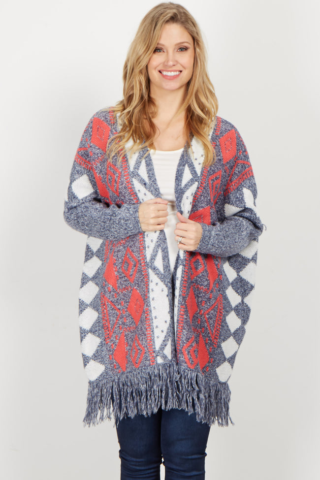 Navy Red Tribal Oversized Fringed Cardigan