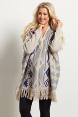Beige Blue Tribal Oversized Fringed Maternity Cardigan