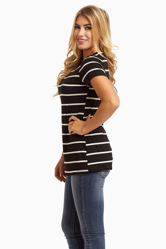 Black White Striped Short Sleeve Basic Top