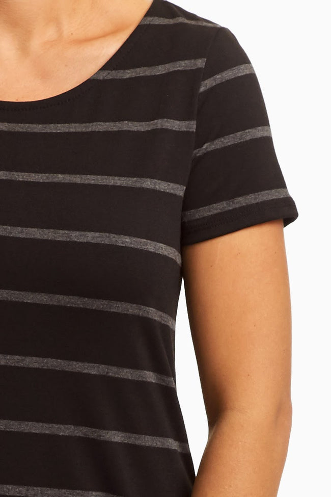 Black Charcoal Striped Short Sleeve Basic Top