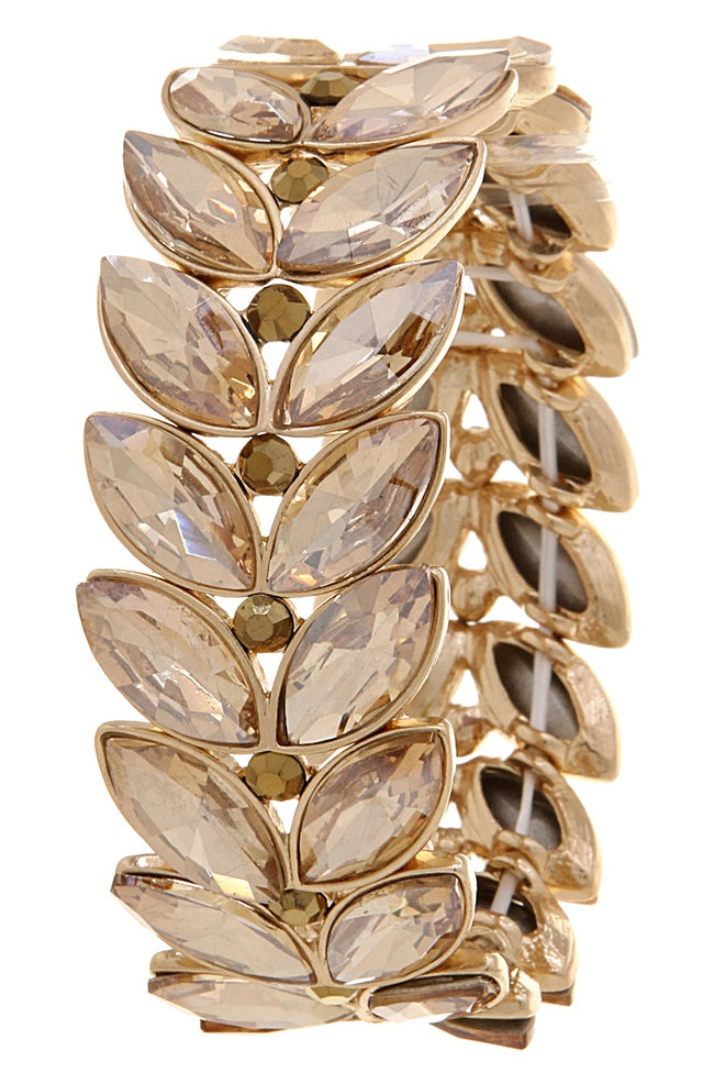 Gold Leaf Faux Gem Stretch Bracelet