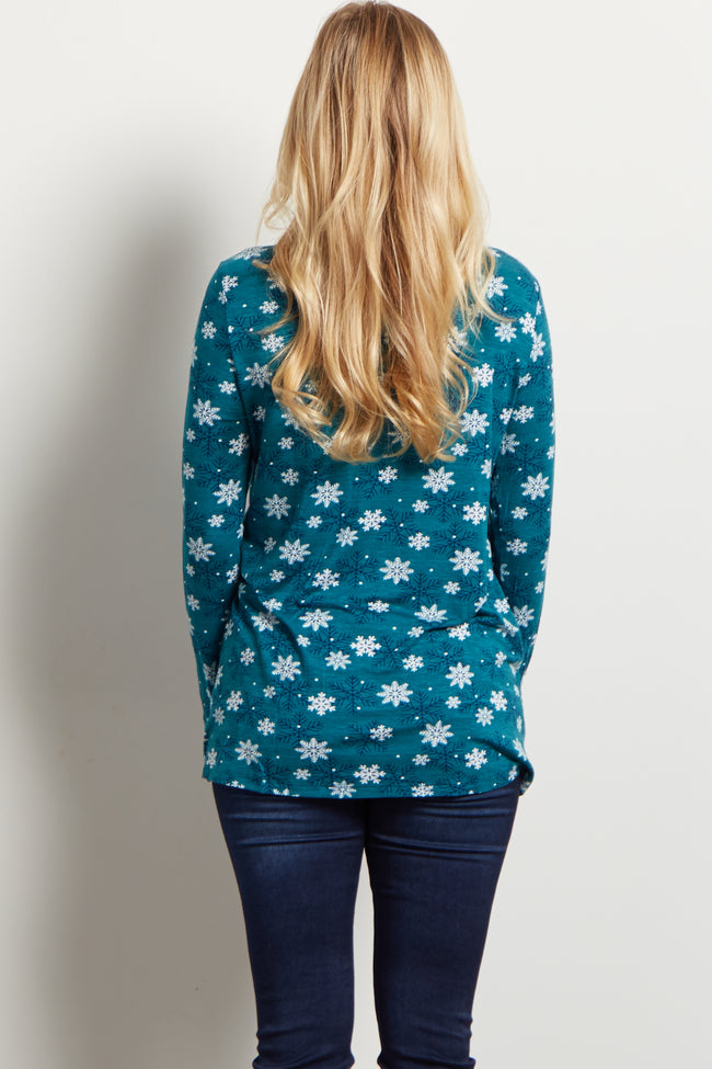 Teal Assorted Snowflakes Printed Maternity Top