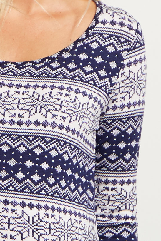 Navy Blue Snowflake Printed Maternity Top