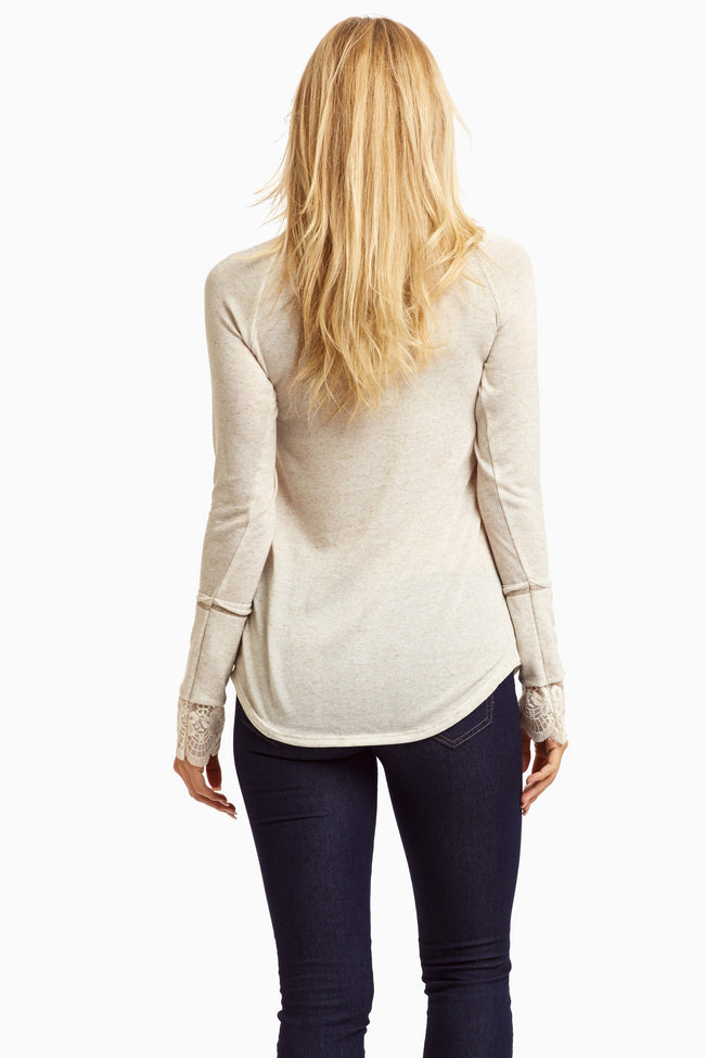 Beige Heathered Lace Accent Sleeve Top