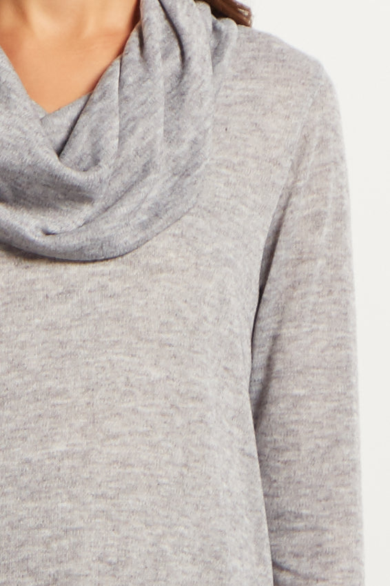 Grey Cowl Neck Chiffon Trim Maternity Top