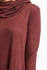 Burgundy Cowl Neck Chiffon Trim Top