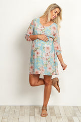 Light Blue Floral Chiffon 3/4 Sleeve Maternity Dress