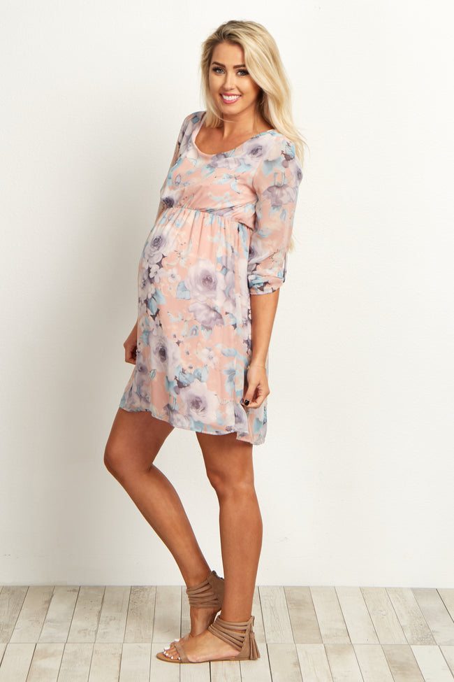 Pink Floral Chiffon 3/4 Sleeve Maternity Dress