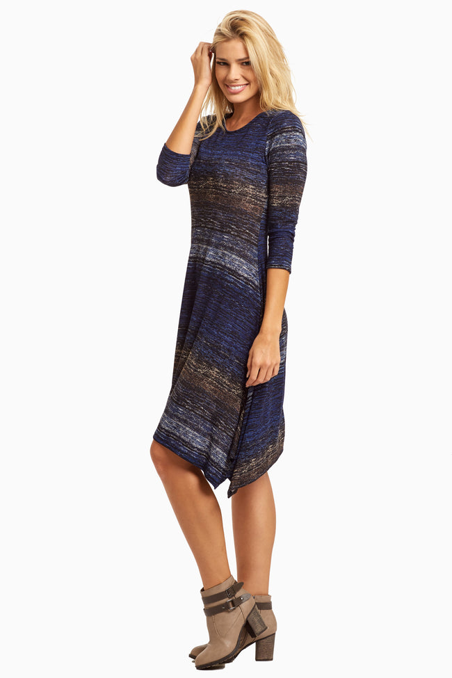 Blue Abstract 3/4 Sleeve Dress