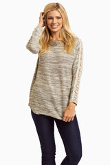 Grey Crochet Sleeve Maternity Sweater