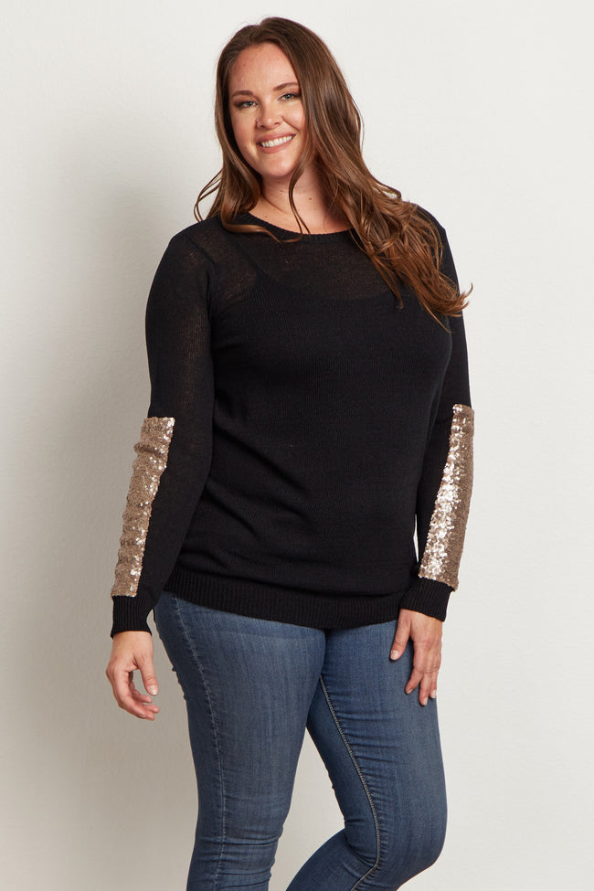 Black Sequin Sleeve Plus Size Sweater