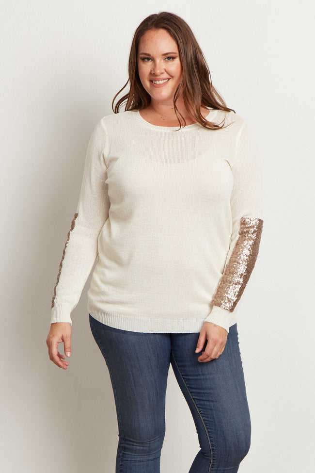 Ivory Sequin Sleeve Plus Size Sweater
