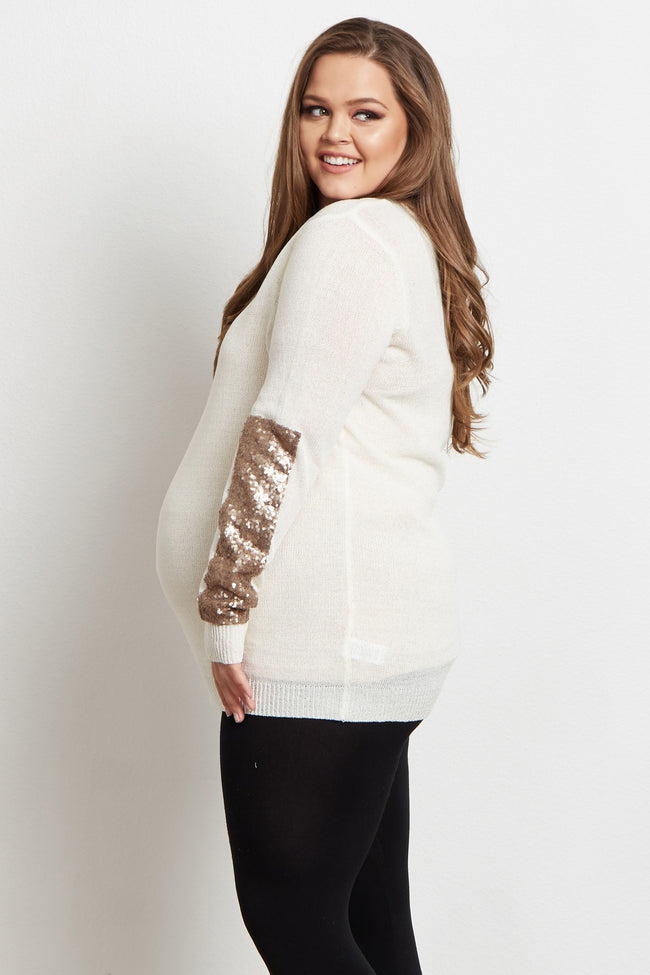 Ivory Sequin Sleeve Plus Size Maternity Sweater