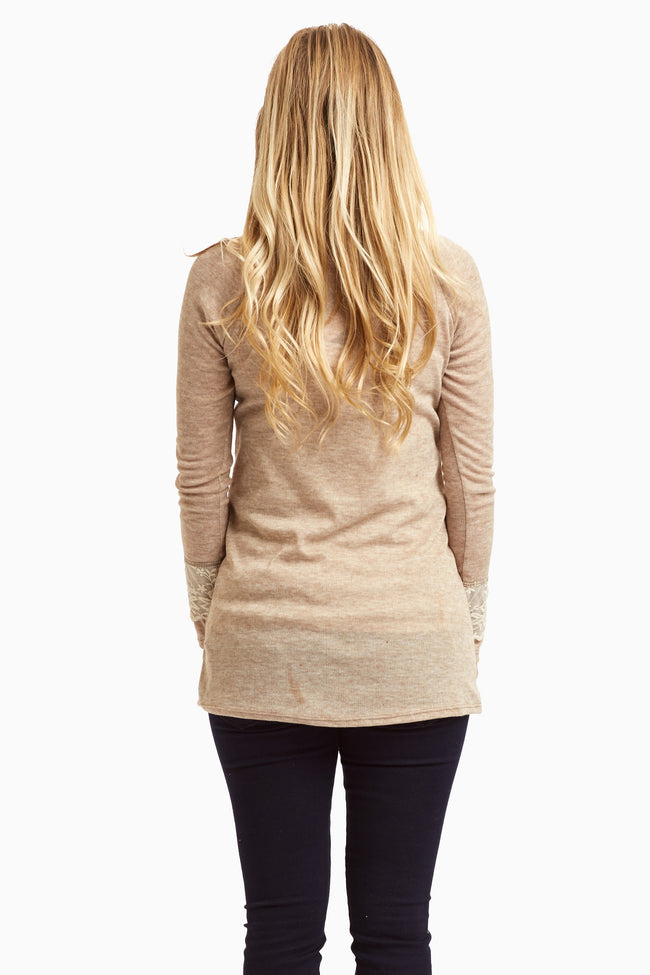Mocha Mesh Accent Sleeve Maternity Top