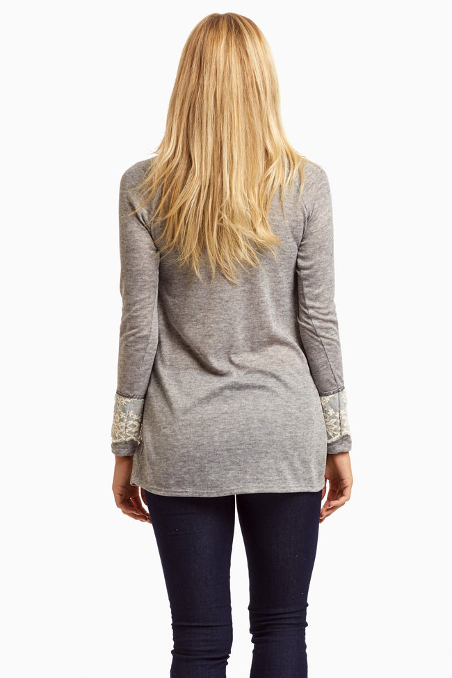 Grey Mesh Accent Sleeve Top