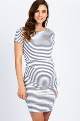 PinkBlush Ivory Navy Striped Fitted Short Sleeve Maternity Dress