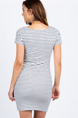 PinkBlush Tall Navy Striped Fitted Short Sleeve Maternity Dress