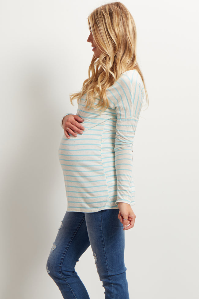 Light Blue Striped Elbow Patch Maternity Top