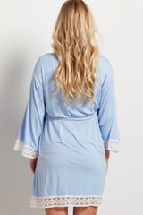 Light Blue Crochet Trim Maternity Delivery/Nursing Robe
