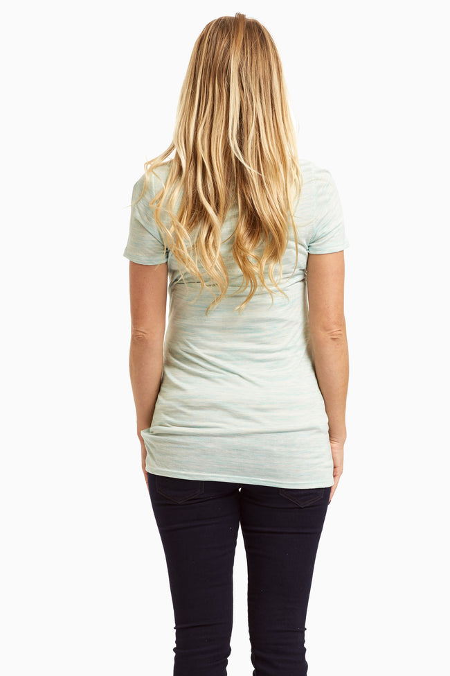 Mint Green Heathered Basic Short Sleeve Maternity Top