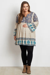 Ivory Printed Bell Sleeve Plus Size Maternity Tunic